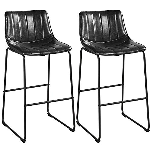 Yaheetech Bar Stools Set of 2, 30'' Counter Bar Fashionable Furnished Settle Industrial PU Leather Bar Chairs with Metal Legs and Backrest Armless Stools for Home Pub Bar Cafe, Black