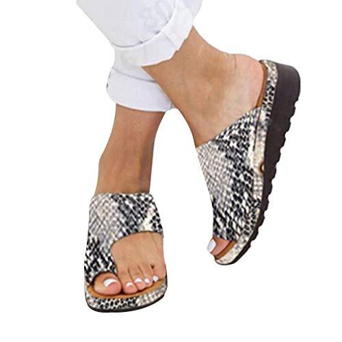 AMYGG Zapatillas de Mujer Vintage Zapatos de Punta Abierta Sandalias de Estilo de Tanga Confort Ortopédicas Originales, Zapatillas Planas de Mujer Chanclas con Punta de Clip de Playa de Verano 39 H