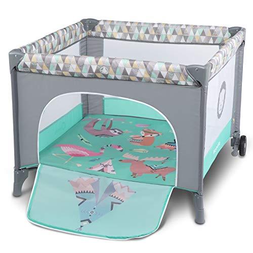 Lionelo Sofie Laufstall Laufstall Baby Baby Bett Reisebett Baby ab Geburt bis 15 kg Seiteneingang Lockguard System und Blockade der Räder Tragetasche zusammenklappbar (Türkis)