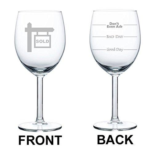 Copas de vino de cristal blanco dos cara buen día mal día Don 't even Ask agente de bienes raíces corredor de bienes raíces