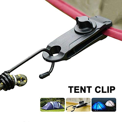 ZHANGSHENG Tent Clip Adjustable Plastic Heavy Duty Windproof Awning Clamp Grip Outdoor Tarpaulin Clips Camping Canopy Clip Nylon Spiral 10pcs/Black