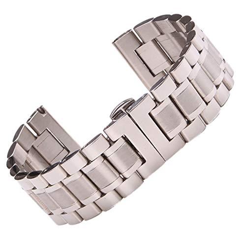 ZZDH Correas Relojes Acero Inoxidable Pulsera de la Banda de Reloj de Acero Inoxidable 18mm - 24mm Mujeres Metal Relojes Correa de Pulsera Muñeca Mariposa Relojes Accesorios