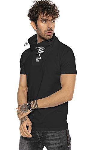 Camiseta Manga Corta de Cuello Alto y Estampado Frontal para Hombre Negro S