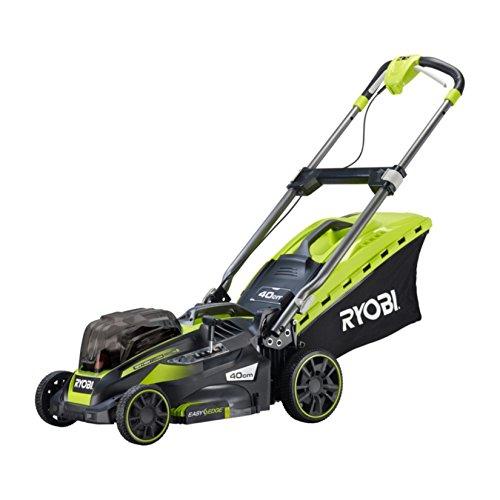 Ryobi Rasenmäher / Hybrid-Rasenmäher, mit Akku, 50l Grasfangkorb, Schnittbreite 40 cm, mäht bis zu 550 m², RLM18X41H240F