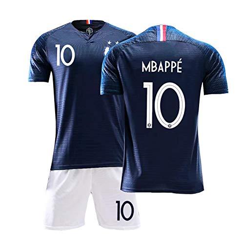 J.W. Fußball Jersey Junge Fußball-T-Shirt Mit Shorts WM Französisch Zwei-Sterne-Team-Trikot Junge Kleidung,No.10,S