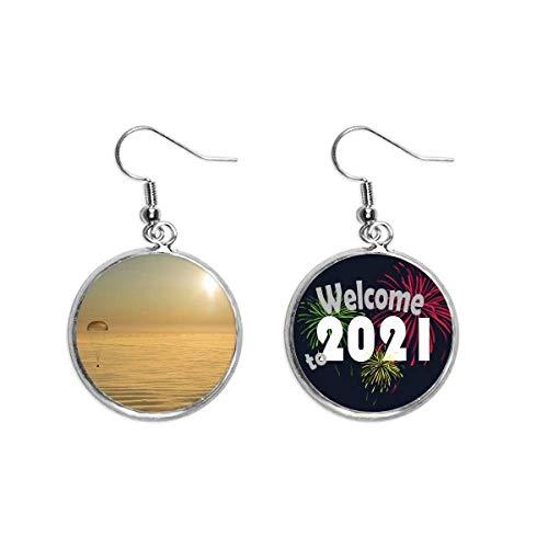 Pendientes de oro con diseño de globo y sol brillante, 2021 bendición