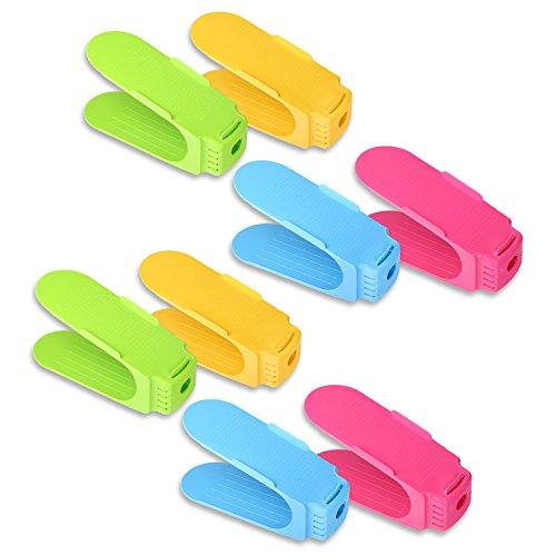 Schramm 8 Stück Schuh Stapler Schuhhalter in 4 Farben Grün, Blau, Gelb und Pink Schuhe Organizer...