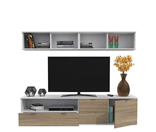 Dormidán- SL7, Mueble de Comedor, Conjunto de Salon, módulo bajo, modulo Colgante (Blanco/Roble, 1.6 Metros)