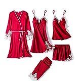 WZHZJ Satin Pijamas Traje de encaje de las mujeres 5PCS Ropa de dormir Pijamas sexy Inicio Use suelto Casual Sleep Set Soft Rayon Nightwear (Color : Wine red)