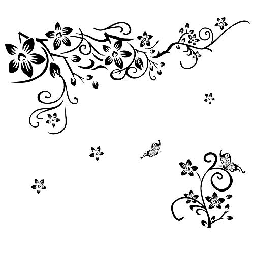 LiveGallery Removable Black Vinyl Flowers Wall Decals DIY Flower Vines and Butterfly Wall Stickers Decor Peel Stick Art Decoration for Teens Room Baby Girls Bedroom Living Room Home Wall Corner