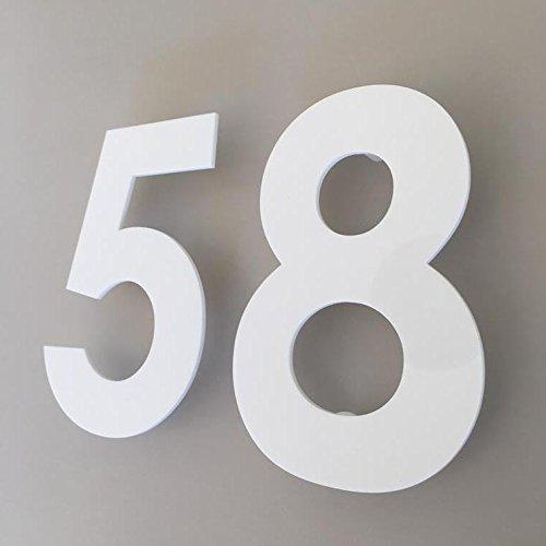 ServeWell - Numero civico in stile gotico, colore: bianco lucido, bianco, 10 cm
