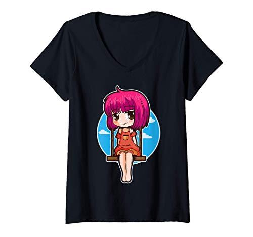 Mujer Japanese Anime Forever Fan Girl On The Swing Aesthetic Camiseta Cuello V