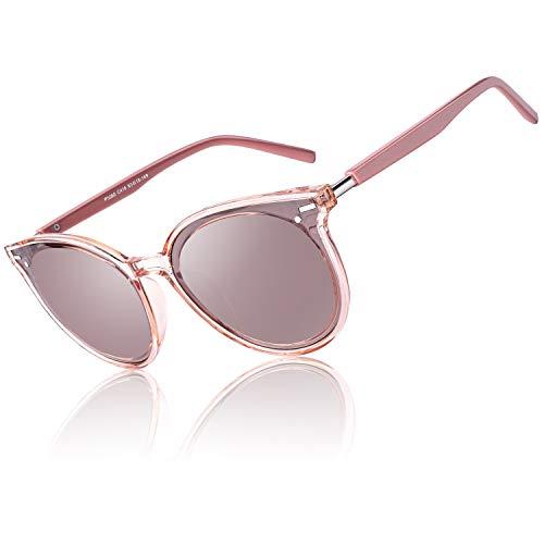 CGID Designer Oversized Runde Polarisierte Sonnenbrille für Frauen Retro Damen Sonnenbrille 100 % UV400 Brille Transparenter rosafarbener Gestell Hellbraune Gläser M60