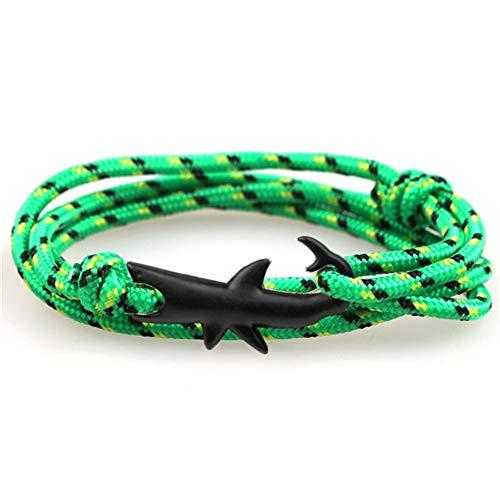 YIYIYYA Herren Armband Einstellbare Mode Anker Armband Männer Und Frau Charme Überleben Kette Sportfreunde Bracelets Black Shark,04