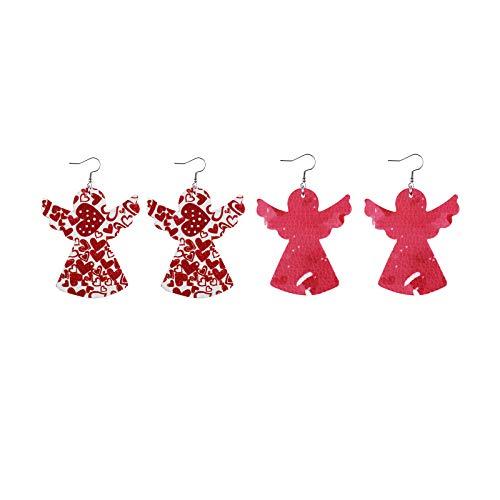 SDCAJA 4 Pcs Women Girls Valentine's Day Faux Leather Drop Dangle Earrings Accessory Jewelry Gift