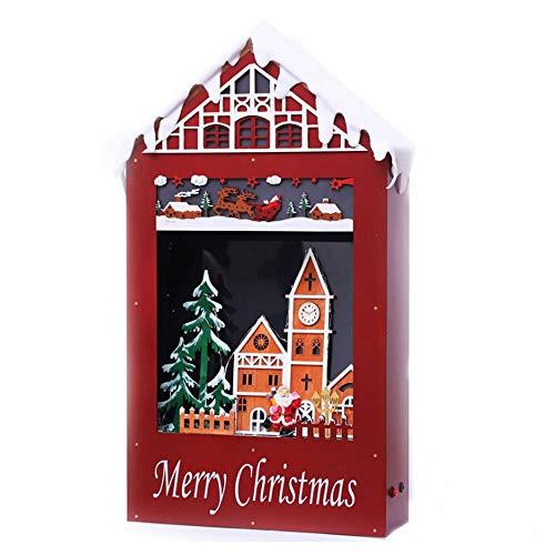 SSBH 66cm de neige de Noël Musique Fenêtre Décoration Maison Neige, Décoration de Noël Snow House Mall Hôtel Bar festival Atmosphère accessoires de scène, les lumières LED