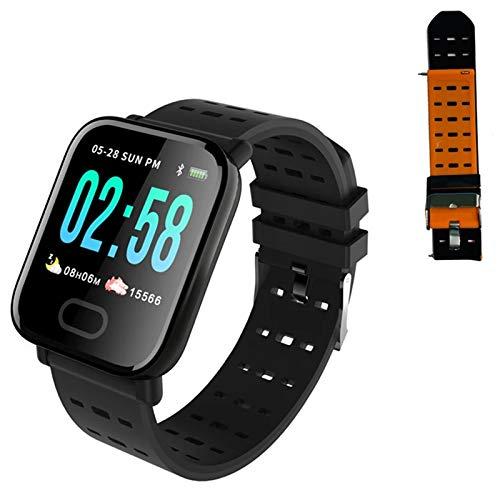 JXFF Reloj Inteligente A6 para Hombres, Monitor De Ritmo Cardíaco, Rastreador De Fitness, Ejercicio De Presión Arterial Ejercicio Smartwatch para Android iOS,E