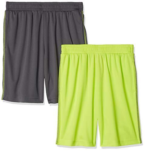 Amazon Essentials Boys' 2-Pack Mesh Short, 2er-Pack Grau/Limette, 4T