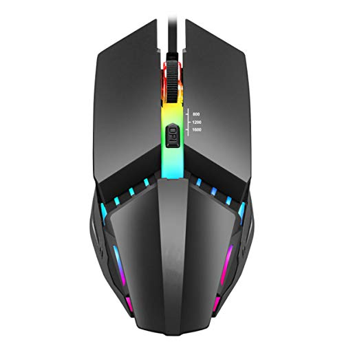 SOONHUA Multifunctional Professional Computer Gaming Mouse Ergonomic Wired Gaming Mouse 4 Button 1600DPI USB Computer Mouse with Backlight for PC Laptop