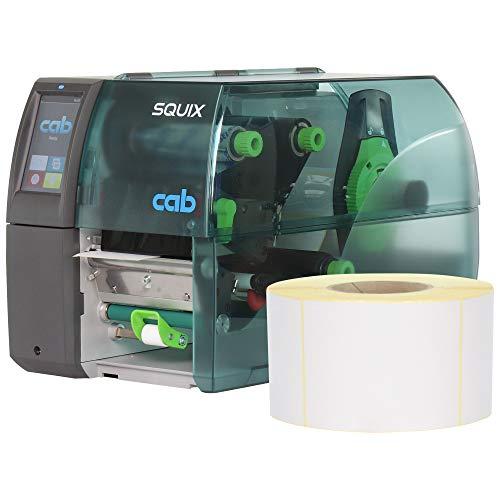 Labelident Starterset - cab SQUIX 4 Etikettendrucker mit Spendelichtschranke inkl. 9000 Etiketten (103 x 199 mm) auf 12 Rollen, 300 dpi - Thermotransfer- und Thermodirektdruck