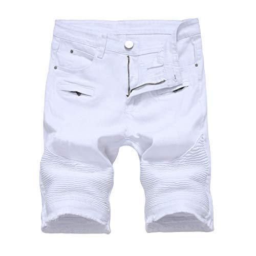 Pantalones cortos de mezclilla para hombre Pantalones cortos de mezclilla elásticos con bolsillo con cremallera europeos y americanos Pantalones cortos de mezclilla rasgados con personalidad de 38