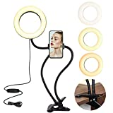 VARIPOWDER 6'' Selfie Ring Light with Cell Phone Holder,Ring Light with Stand&Flexible Arms for YouTube/Live Stream/Makeup,3 Lighting Modes,10 Adjustable Brightness,Compatible Android,iPhone (Black)…
