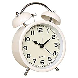 Time Vanguard Retro Double Bell Alarm Clock Bedside Silent Non-Ticking (White)