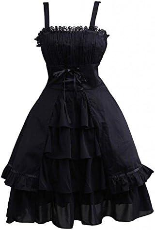 Ainclu Womens Gothic Black Sleeveless Ruffles Cotton Lace Summer Cute Lolita Dress product image