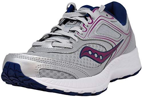 Saucony Women's Versafoam Cohesion 12 Grey/Navy/Purple Road Running Shoe 9 M US
