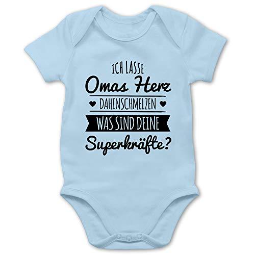Shirtracer Sprüche Baby - Omas Herz dahinschmelzen - 1/3 Monate - Babyblau - Omas Baby - BZ10 - Baby Body Kurzarm für Jungen und Mädchen