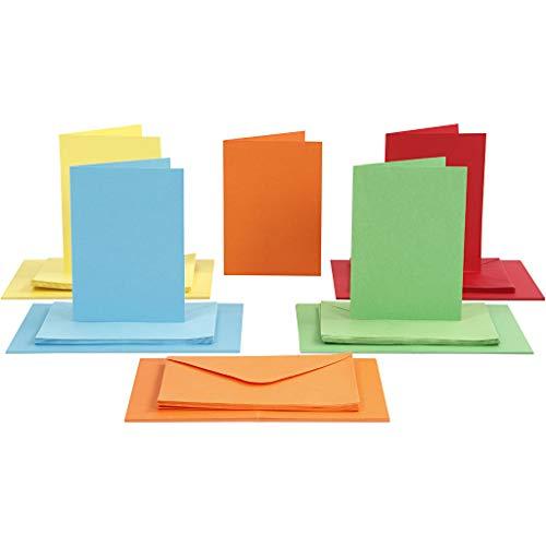 Sparset Karten und Briefumschläge Set, DIN A6, 100-tlg, Sortierte Farben, Kartengröße 10,5x15 cm, Umschlaggröße 11,5x16,5 cm