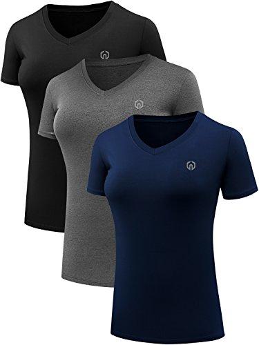 Neleus Women's 3 Pack V Neck Workout Compression Shirt,8016,Black,Grey,Navy Blue,US M,EU L