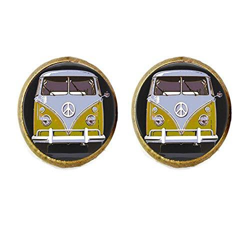 Pendiente de cristal para coche con diseño de autobús y autobús, color amarillo