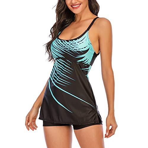 Aujelly Damen Striped Print Strappy Tankini Set Badeanzug Zweiteiler RüCkenfrei Oberteil Mit Shorts Swimsuit Bademode Beachwear Blau M