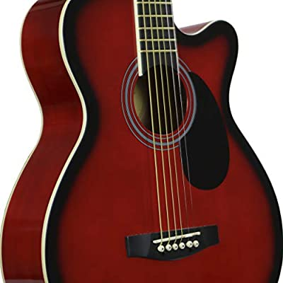 Main Street Guitars MAS38TR 38-Inch Acoustic Cutaway Guitar in Transparent Red Finish