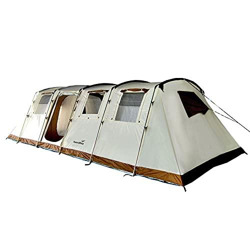 Skandika Tunnelzelt Casablanca für 12 Personen   Zelt mit eingenähtem Zeltboden, wasserfest, 5000 mm Wassersäule, 2,1 m Stehhöhe, 2 große Schlafkabinen, 2 Eingänge   XXL Familienzelt