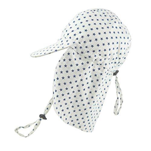 Pesci Bonnet de baseball pour bébé garçon avec rabat de protection du cou et sangle de menton réglable étoiles 0-2 ans - Blanc - 0-24 mois