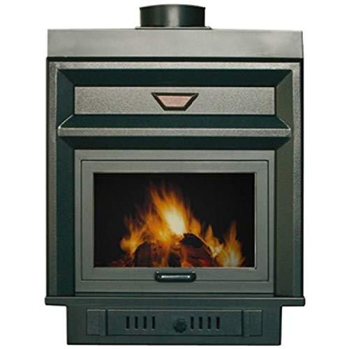 Calefactor para chimenea serie New Europa, modelo Praga 26 K, color negro, conexión derecha