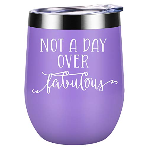 Not a Day Over Fabulous - Funny Birthday, Valentines, Galentines Day Wine Gifts Ideas for Women, Wife, Mom, Daughter, Sister, Aunt, Best Friend, Coworker, Her - Coolife Insulated Wine Tumbler with Lid
