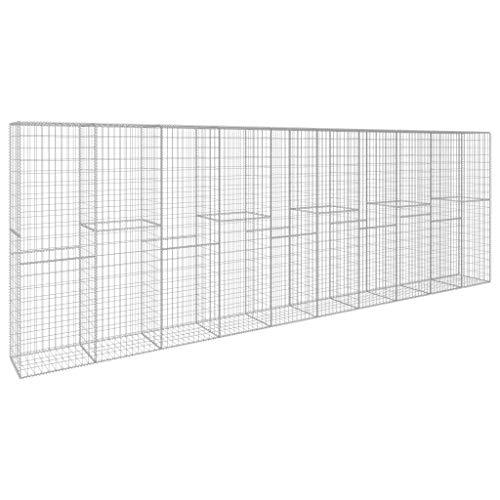 Festnight Gabionenwand mit Abdeckung Verzinkter Stahl 600 x 50 x 200 cm Steinkorb Steingabionen Drahtkorb Mauer Wand Gabionen