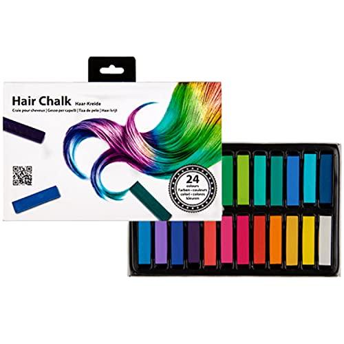 Selldorado® 24x Haarkreide - Temporäre Haarfarbe in 24 Farben - Hair Chalk - Haarkreide Kinder Auswaschbar ungiftig - Ideal als Haartönung für Halloween, Karneval, Partys,...