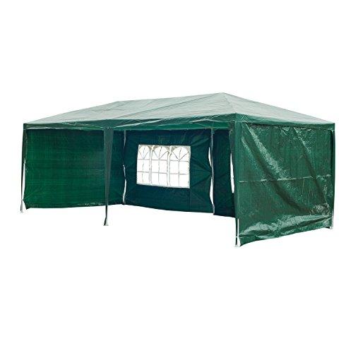 Outsunny Gazebo Multifunzionale Tendone da Esterno per Campeggio, Eventi, con Pannelli Rimovibili, in Acciaio, Verde Scuro, PE 3 x 6m