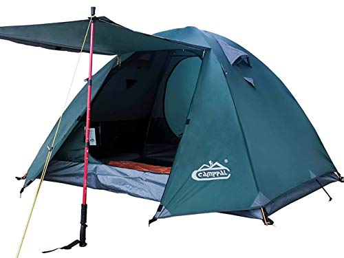 camppal 3 4 Person Tent for Camping Hiking Mountain Backpacking Tents 4 Season Resistance to Windproof Rainproof and Waterproof (3-4 Person Green)