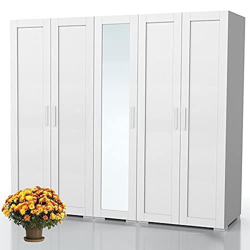 Bonamaison Haus Möbel, Spiegelschrank mit fünf Türen, Kleiderschrank, 18mm MDF, Weiß, 200x47x185 cm
