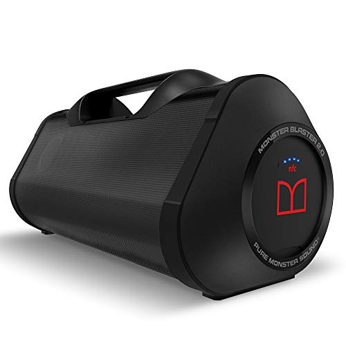 Monster Superstar Blaster Boombox: High Performance Portable Wireless Bluetooth Speaker, Rechargeable Water Resistant with Indoors/Outdoors EQ Modes (Updated Model (Black))