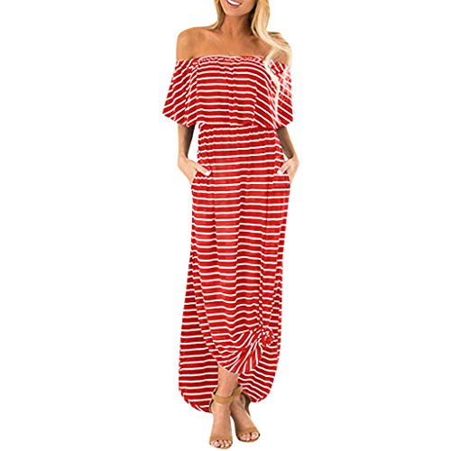 Elegant Dresses Womens Off The Shoulder Ruffle Party Dresses Side Split Beach Maxi Dress with Pockets by Chaofanjiancai (M, Red06)