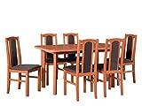 Mirjan24 Esstisch mit 6 Stühlen DM77, Küchentisch, Esstischgruppe, Sitzgruppe, Esstisch + Stuhlset, Esszimmergarnitur, Esszimmer Set, DMXZ (Erle/Erle + Inari 24)