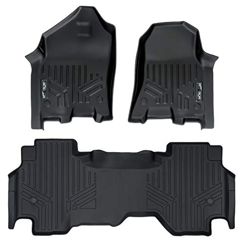 MAXLINER Floor Mats 2 Row Liner Set Black for 2019 Ram 1500 Quad Cab with 1st Row Captain Seat or Bench Seats