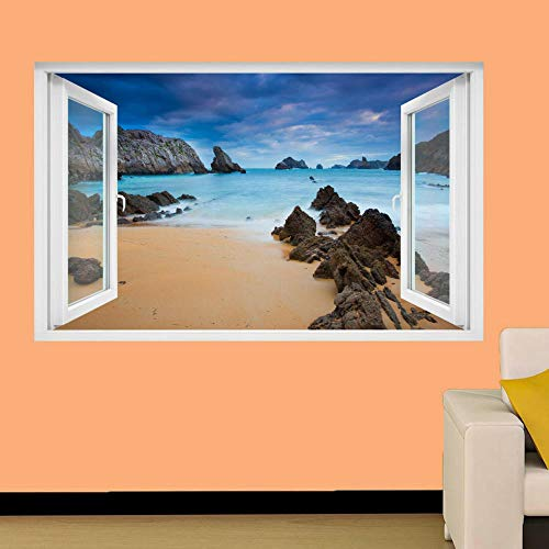 LMMLYR 3D Pegatinas de pared PAISAJE ROCKS BEACH SEA POST OFFICE TIENDA Extraíble Agujero en la pared Vinilo Decorativo Pegatinas Vista de Efecto Adhesivos De Pared