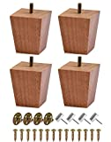 BUYGOO 3inch Wood Furniture Legs Sofa Legs Set of 4 Square Couch Legs Mid-Century Modern Replacement Legs for Armchair Recliner Coffee Table Dresser
